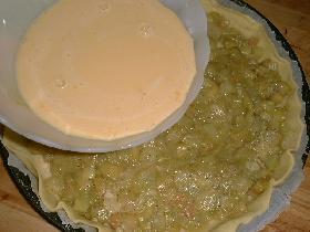verser la crème sur la rhubarbe et cuire à 200°C pendant 30 mn environ