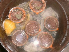 stériliser pendant 2 heures. L'eau doit couvrir les bocaux. laisser refroidir les bocaux dans le stérilisateur et vérifier la stérilisation en essayant d'ouvrir le bocal