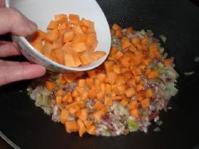 la carotte coupée en  cubes