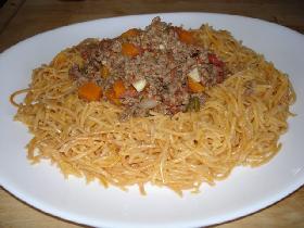 dans une grande assiette ( creuse de préférence ), disposer les spaghetti  en formant un nid pour verser le ragoût <p>saupoudrer de parmesan